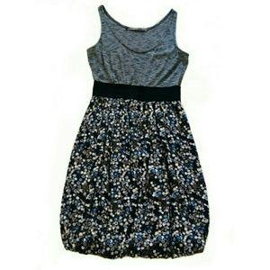 Zara Size Small Grey Floral Mini Bubble Dress